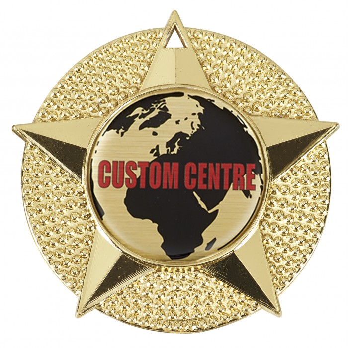 CUSTOM CENTRE STAR MEDAL - 50MM - GOLD, SILVER OR BRONZE